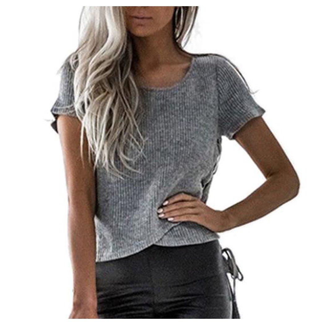 Women Casual Shirt, Inkach Stylish Girls Short Sleeve Frill Tops Ladies Bandage Shirt Blouse T-Shirt (XL, Gray)