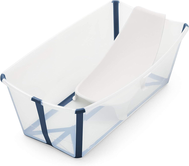 STOKKE® Flexi Bath® - Bañera bebé plegable con asiento para recién nacidos │ Piscina portátil para niños hasta los 4 años - Color: Transparent Blue