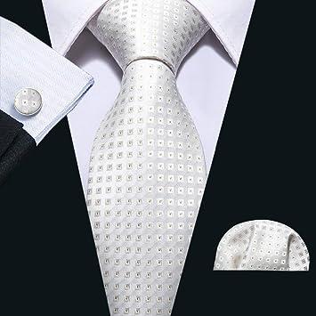 HYCZJH Moda Sólido Blanco Corbata de Boda Seda Hombre Tie Set 8.5 ...