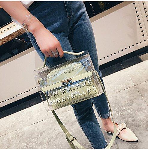 Transparente Gelee Messenger Bag Bag Bag Alphabet Kosmetiktasche Handtasche Candy Farbe PVC Wasserdichte Schultertasche 2 Stück HQ.ADIER B07D3SY75V Messenger-Bags 3bb391
