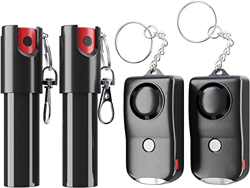 Pepper Spray and Personal Alarm Key Chain Bundle 4 Pack for Protection and Self Defense, Safeguard for Women and Men, Tear Gas and Panic Button