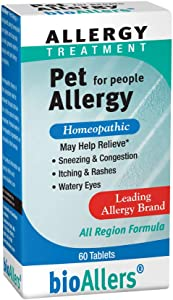 bioAllers Pet Allergy Relief for People | Homeopathic Formula Temporarily Relieves Sneezing, Itching, Watery Eyes Due to Hair & Dander | 60 Tablets
