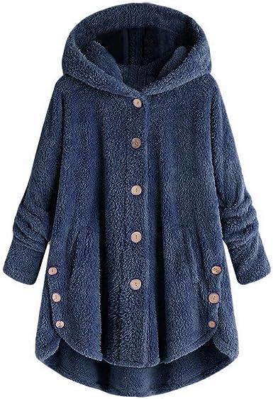 riou Mujer Sudadera con Capucha para Mujer tamaño Grande suéter para Mujer otoño e Invierno Camisa de Manga Larga Chaqueta Caliente botón de Felpa Descuento: Amazon.es: Ropa y accesorios