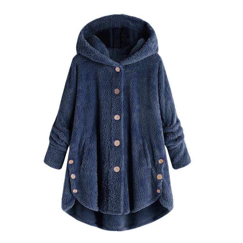 TianWlio Mä ntel Herbst Winter Damen Jacken Parka Warme Jacken Strickjacken Mode Knopf Mantel Flauschige Schwanz Tops Kapuzenpullover Lose Pullover Schwarze Marine S-5XL