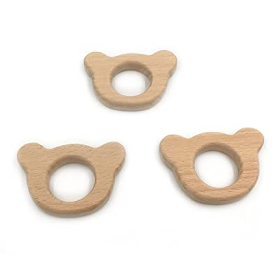 Amyster 3pcs Handmade Wooden Teether Bear Pendent Organic Natural Beech Wooden Toy Hand Cut Animal DIY Jewelry Making Accories : Baby