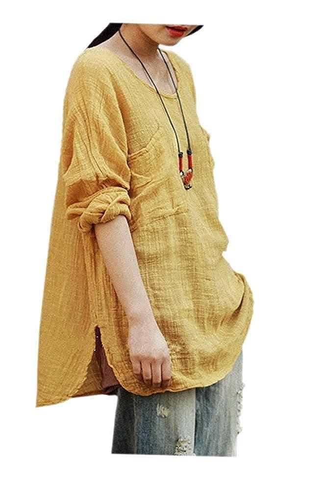 ARJOSA Women's Linen Loose Fit Shirt Blouse Casual Beach Yoga Top