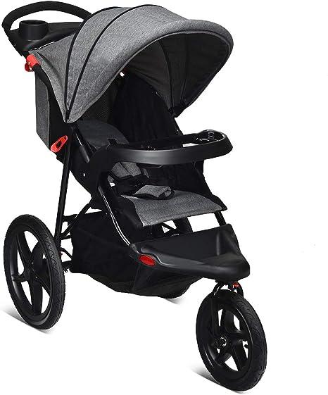 Opinión sobre COSTWAY Triciclo con Función Reclinable Cochecito Plegable para Bebé Silla de Paseo Ligera con Cinturón de Seguridad 5 Puntos para Niños de 6 a 36 Meses (Gris)