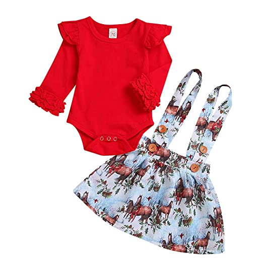 76bd1fcee9b7 Amazon.com  KONFA Toddler Newborn Baby Girls Christmas Clothes ...