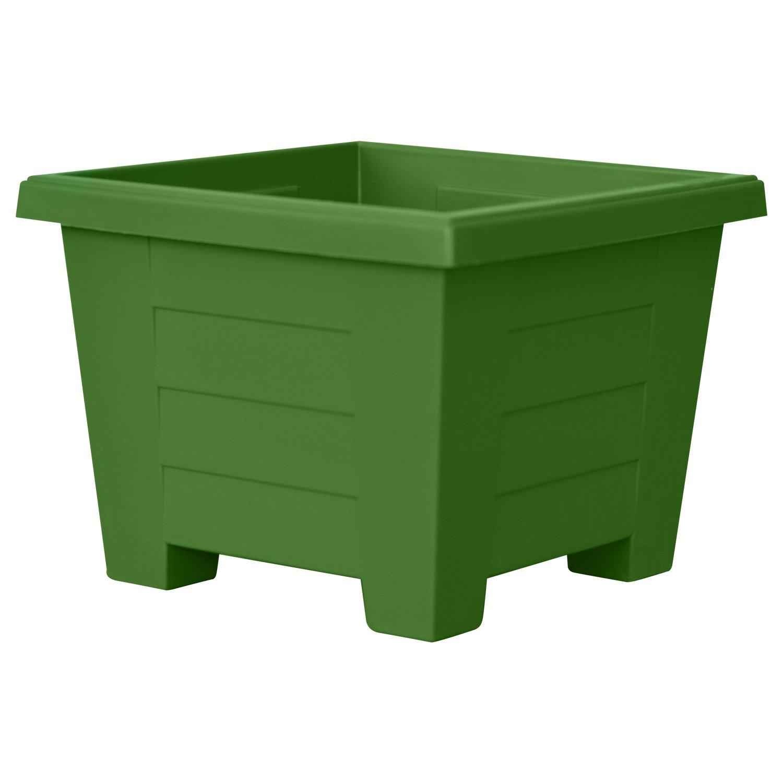 ALMI Cnaan Mini Square Plastic Planter – 6 Inch Cube Pot For Garden, Elegant Shaped Flower Tree Pot, Planter For Plants, Small Trees, Plant Pot, UV Resistant Paint, Indoor & Outdoor, Light Green