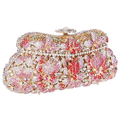Damen Clutch Abendtasche Handtasche Geldbörse Funkelt Glitzer Kristall Luxus Tasche mit wechselbare Trageketten von Santimon(4 Kolorit) Pink oMewKzpwE9