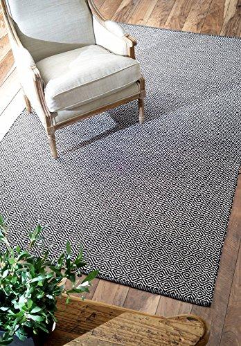 NuLOOM Hand Loomed Diamond Cotton Check Flat Woven Area Rugs, 9u0027 X 12u0027,  Black