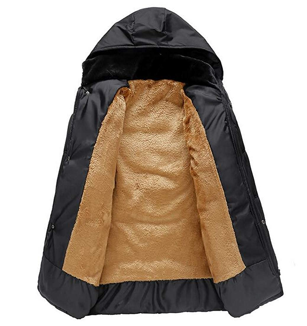 Hajotrawa Men Casual Wool Lined Puffer Hooded Cotton-Padded Parka Jacket Coat