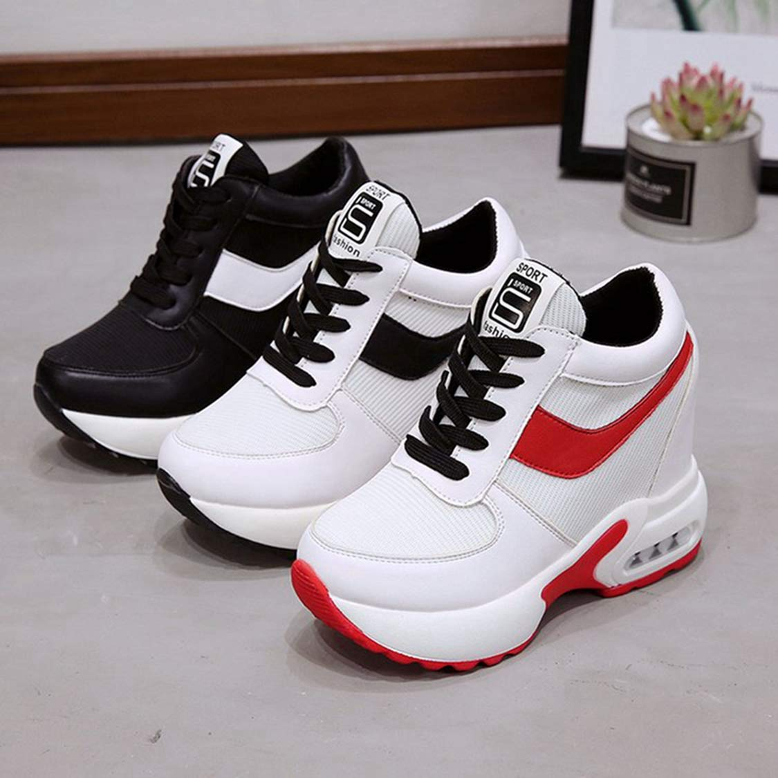 DOSOMI Women Sneakers Lace Up 10cm Height Increasing Flats Casual Fashion Wedges Shoes