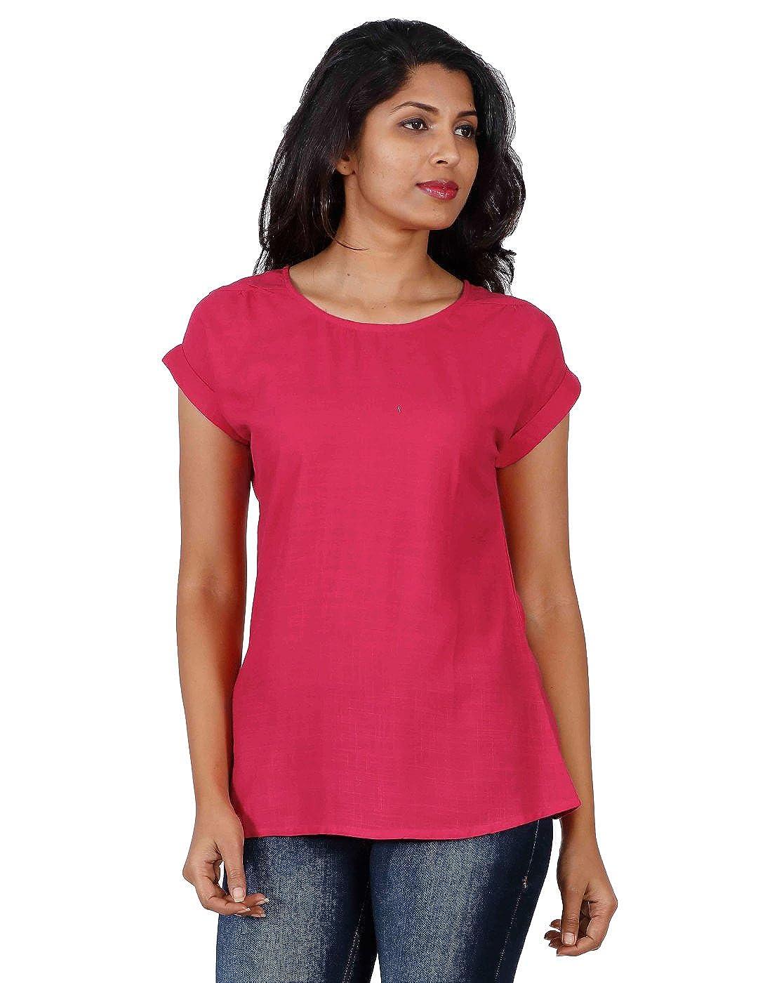 c86e12e5c4ee ESTYLE Raspberry Pink Round Neckline Indo-Western Top (Medium)  Amazon.in   Clothing   Accessories