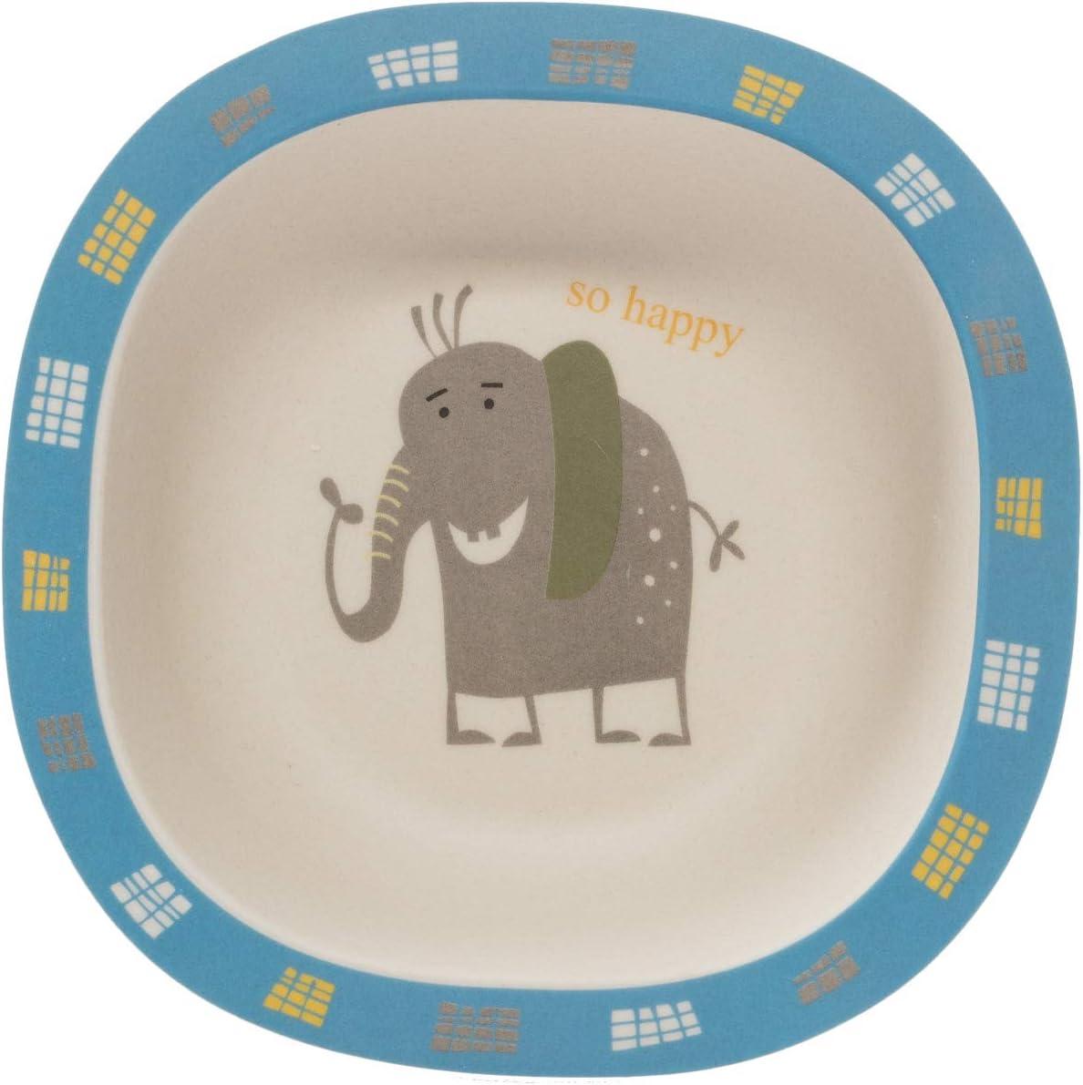 5 Piezas Elephant ZOPA Set vajilla Infantil de bamb/ú Juego de vajilla de bamb/ú