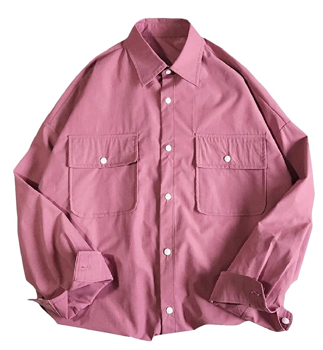 Lutratocro Mens Button Front Loose Fit Casual Long Sleeve Pure Colour Shirts