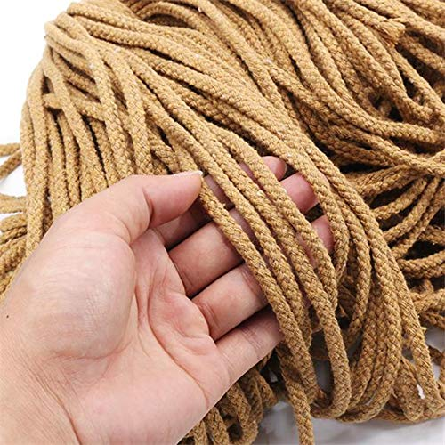 luffybin: 5mmx100m Braided Cotton Rope Twisted Cord Rope DIY Craft Macrame Woven String Home Textile Accessories Craft Gift Beige Khaki