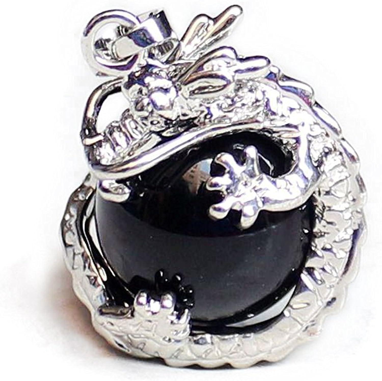 TOOGOO(R)) 1 PCS Natural 15mm Piedra Preciosa Bola Colgante Envuelta Plata Aleacion Dragon para Mujeres Encantada Joyeria Collar - Negro Onix