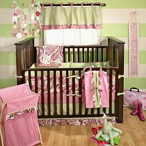 My Baby Sam Paisley Splash 4 Piece Crib Bedding Set, Pink (Discontinued by Manufacturer)