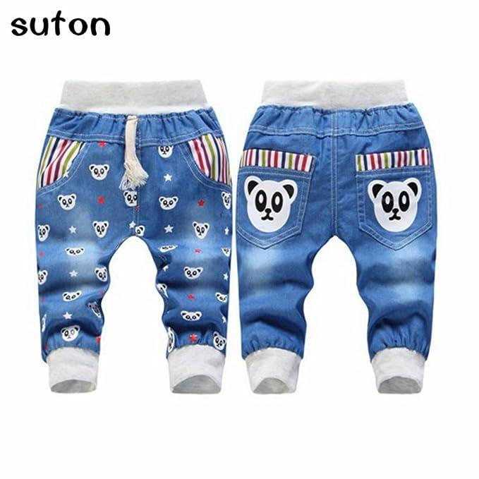 f63178cedbe5 Amazon.com  2018 New Bear Children Boys Jeans Trousers Cartoon ...