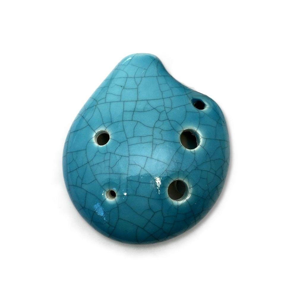 6 Hole Seedpod Pendant Ocarina – Ceramic - Jade Crackle Glaze – Soprano C– Necklace Flute - Focalink - Perfect Travel Companion - Easy to Play – Free Tutorial & Songbook Included