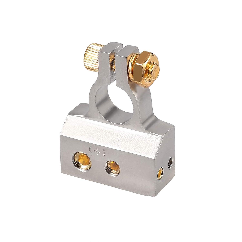 AUTOUTLET 2PCS Car Battery Terminal Connectors Kit 2//4//8//10 Gauge AWG Positive /& Negative Chrome Battery Terminals with Spacer Shims