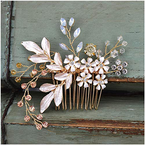 SWEETV Gold Bridal Hair Comb Rhinestone Wedding Clip Flower Hair Accessories Head Pieces for Women