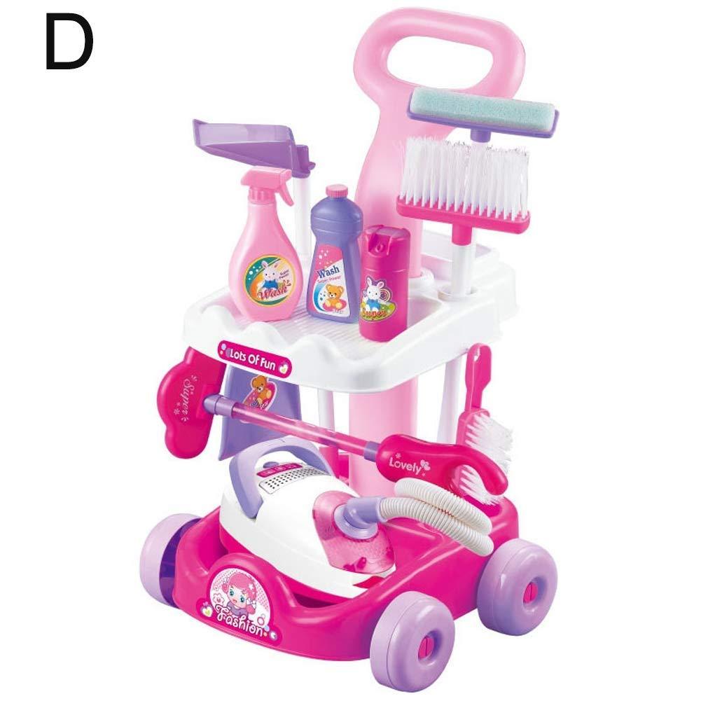 RANRANJJ SpielzeuGrünigungswagen Vakuum Combo Simulation Staubsauger, Hausarbeit Simulation Staubsauger Kinder Pretend Play Spielzeug Kunststoff-Reinigungswerkzeug (Farbe   A) D