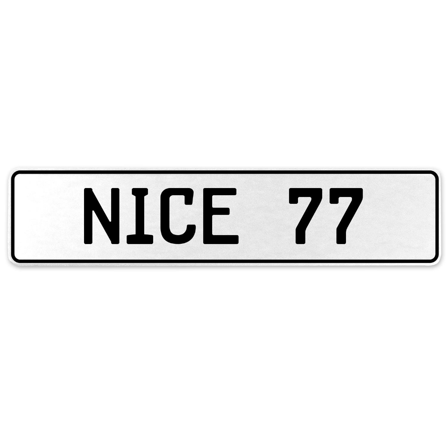 Vintage Parts 555268 Nice 77 White Stamped Aluminum European License Plate