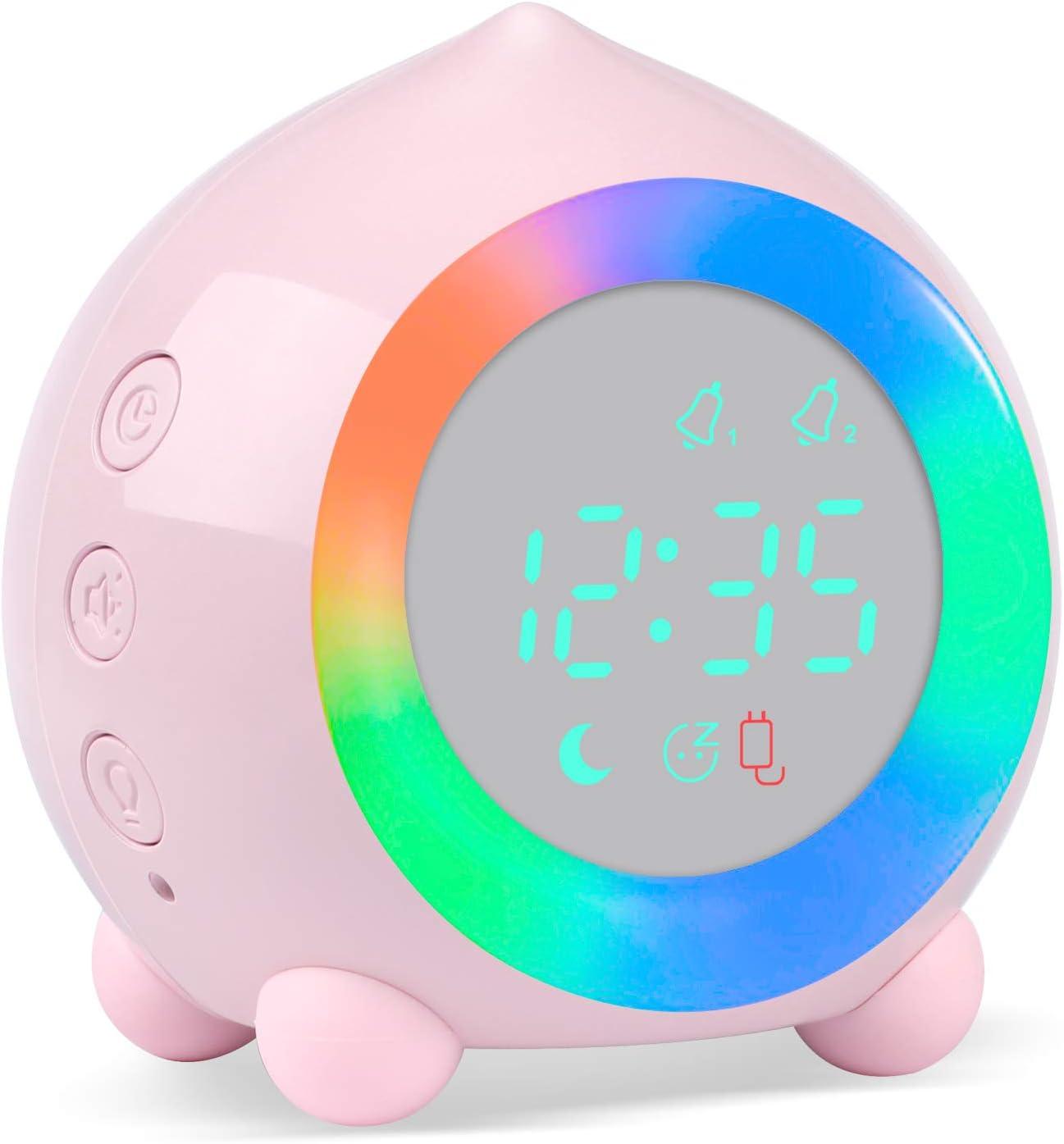 Alarm Clock Digital for Kids Sunrise Simulator Alarm Clock Bedside Mains Powered for Girls Boys Bedroom with LED Wake Up Light & Night Light Lamp Silent Alarm Clock (Pink)