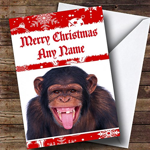 Toothless Monkey Funny Personalized Christmas Holiday Greetings Card -