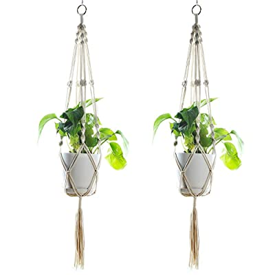 Frezo Macramé Plant Hanger, Indoor Outdoor Hanging Planter with Ring Hook Basket Cotton Rope Holder Round and Square Pots 4 Legs 41 Inch, 2 Set, White (2): Garden & Outdoor