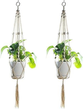 Plant Hanger Indoor Outdoor Hanging Planter Basket Cotton Rope 4 Legs 41 Inch