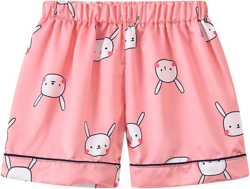 Afunbaby 2 Piece Toddler Kids Boys Girls Pajamas Sets Short Sleeve Shirts /& Shorts Satin Silk Sleepwear Summer Nightwear Pjs