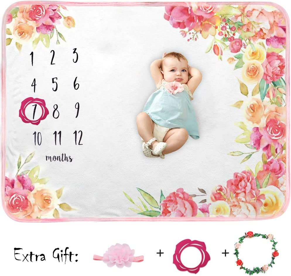 Baby Monthly Blanket Girl Boy Organic Plush Fleece Large Personalized Memory Photo Blanket for Baby Shower Newborn Pictures Photography (Flower Print)