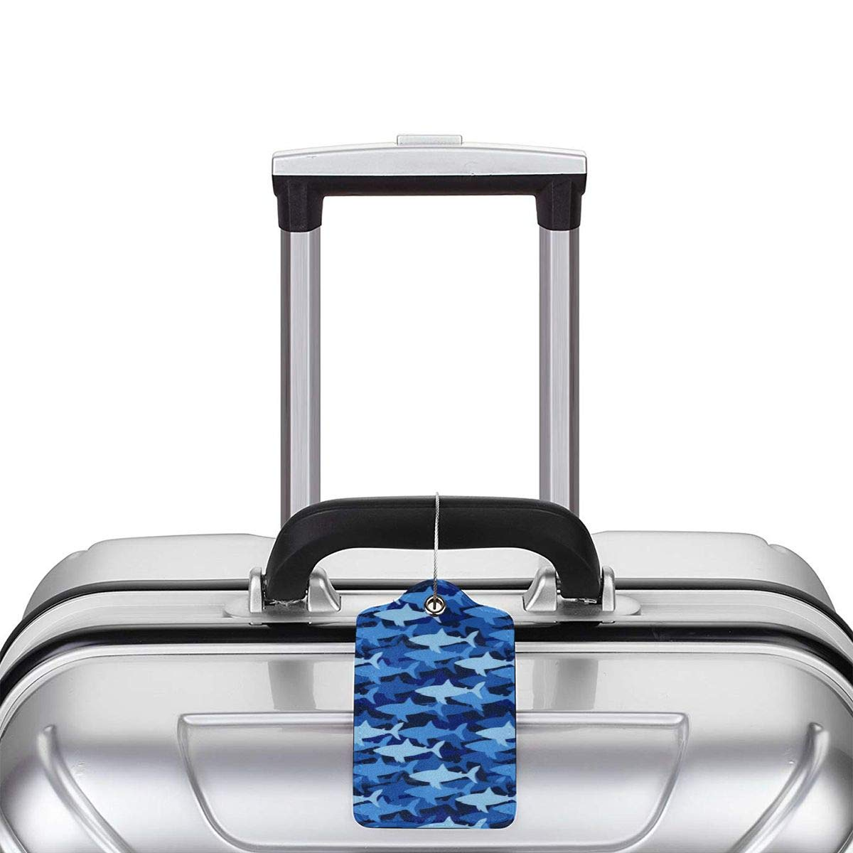 Blue Shark Silhouette Travel Luggage Tags With Full Privacy Cover Leather Case And Stainless Steel Loop