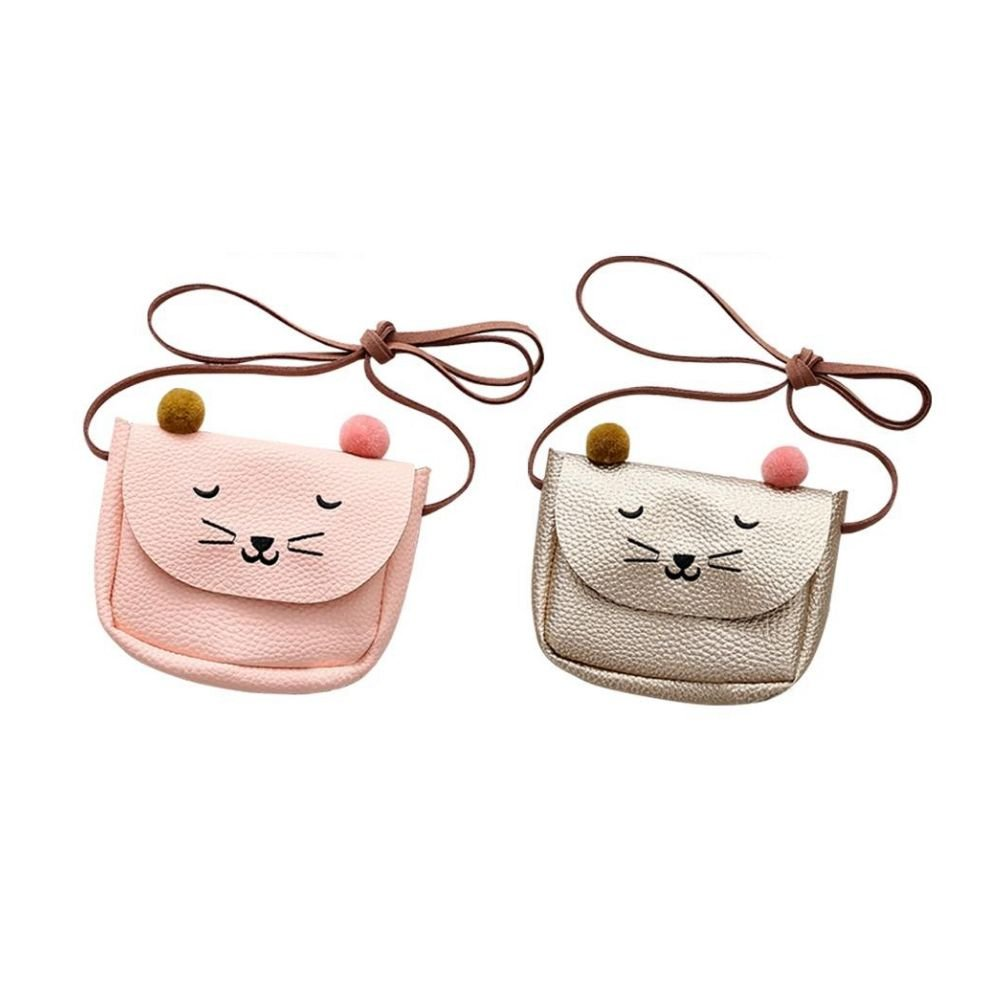 champagne SODIAL Mini mignon chat oreille sac a bandouliere Key Coin Purse Cartoon belle Messenger Bag petite fille presente