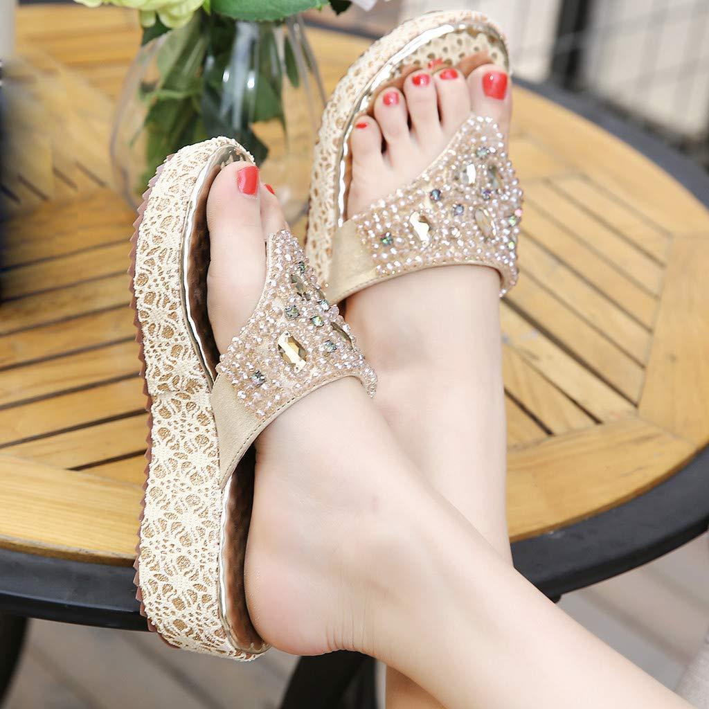 Moonker Summer Womens Slippers Rhinestone Beaded Wedge Flip-Flops Fashion Girls Ladies Shoes