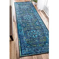 nuLOOM Traditional Vintage Inspired Overdyed Fancy Blue Runner Rug (26 x 8), Machine-Made