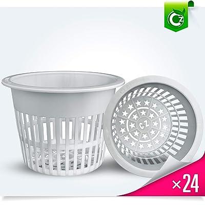 5 inch Net Pots Heavy Duty Round Cups Wide Rim Design - Orchids • Aquaponics • Aquaculture • Hydroponics Slotted Mesh (Cz All Star 24 White Pots): Garden & Outdoor