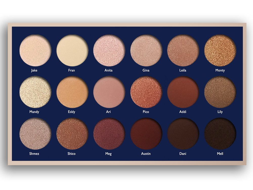 18 Super Pigmented - Top Influencer Professional Eyeshadow Palette all finishes, 5 Matte + 9 Shimmer + 4 Duochrome - Buttery Soft, Creamy Texture, Blendable, Long Lasting Stay (Bare) by Jacob & Eli (Image #2)