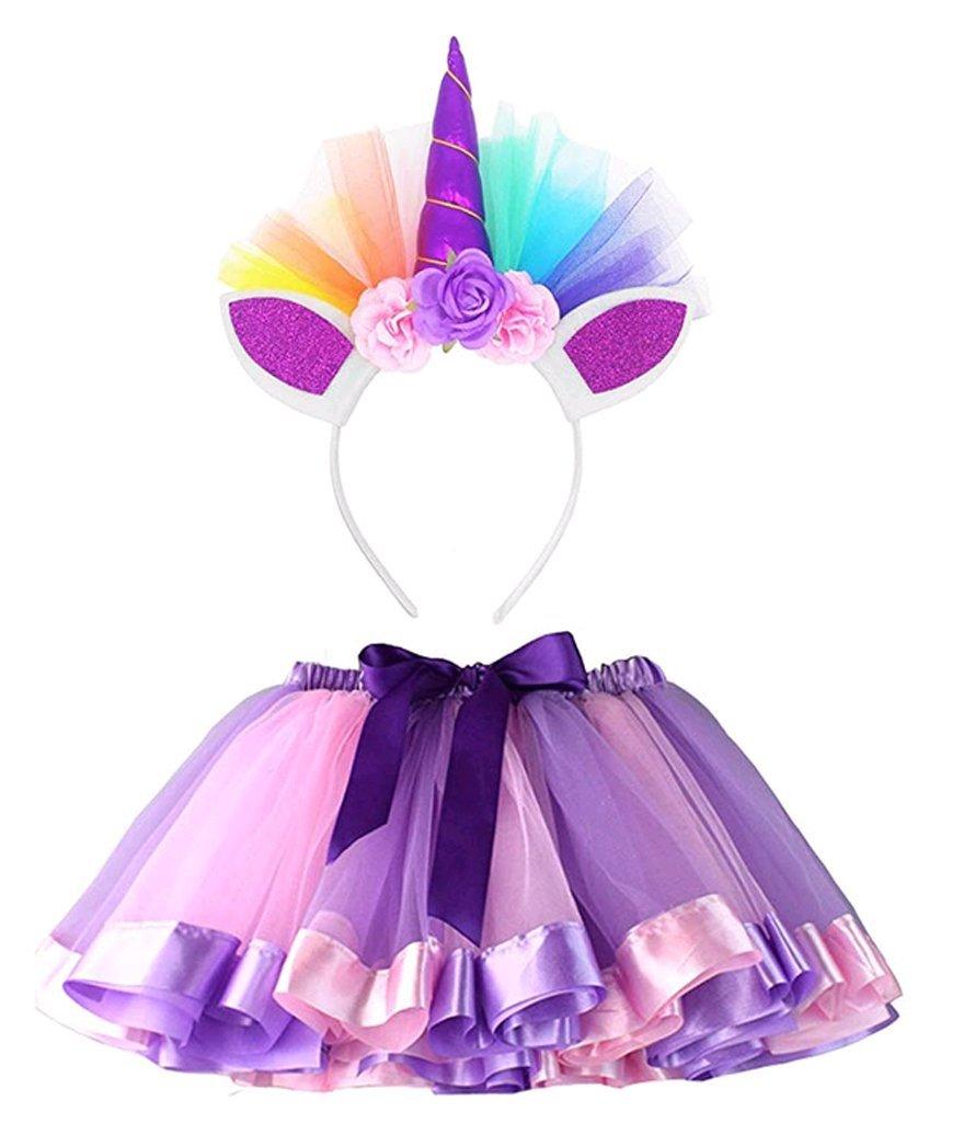 Lesimsam Little Girls Layered Tulle Tutu Skirt with Unicorn Horn Headband 5-8T Rainbow