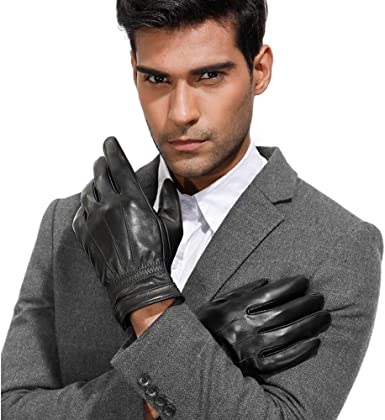 Men/'s Touch Screen Winter Warm Leather Windproof Driving Fleece Lined Gloves US