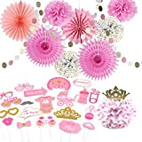 Baby Shower Decorations Girl Kit Pink Pom Pom Flowers Tissue Paper Fans + Baby Shower Photo Booth Props Girl