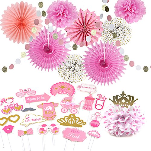 Baby Girl Princess Pink and Gold Birthday Party Decoration Gender Reveal Little Lady Mom to Be Photo Booth Props Pink Tissue Paper Fans Party Celebration Backdrop Easy Joy -