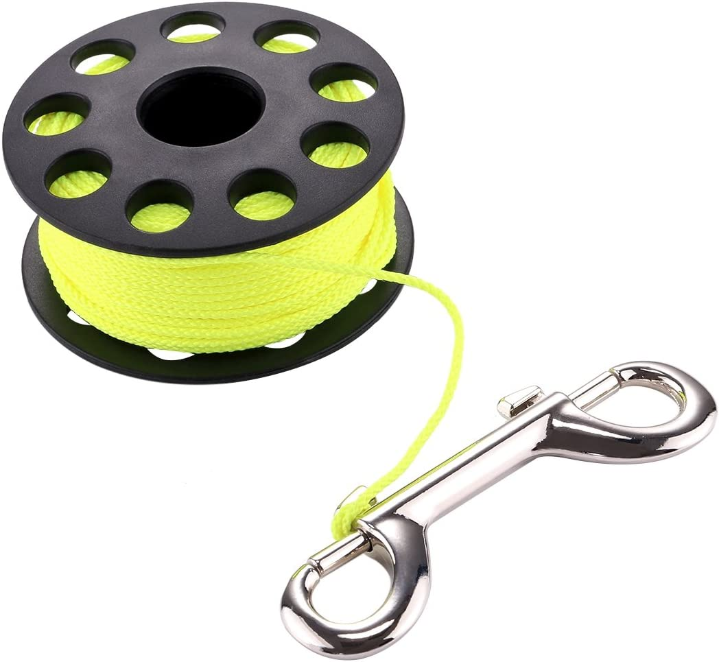 WEIHONG Diving Compact Diving Finger Reel with 30m Nylon Braided Wire /& Stainless Steel Bolt Clip WEIHONG