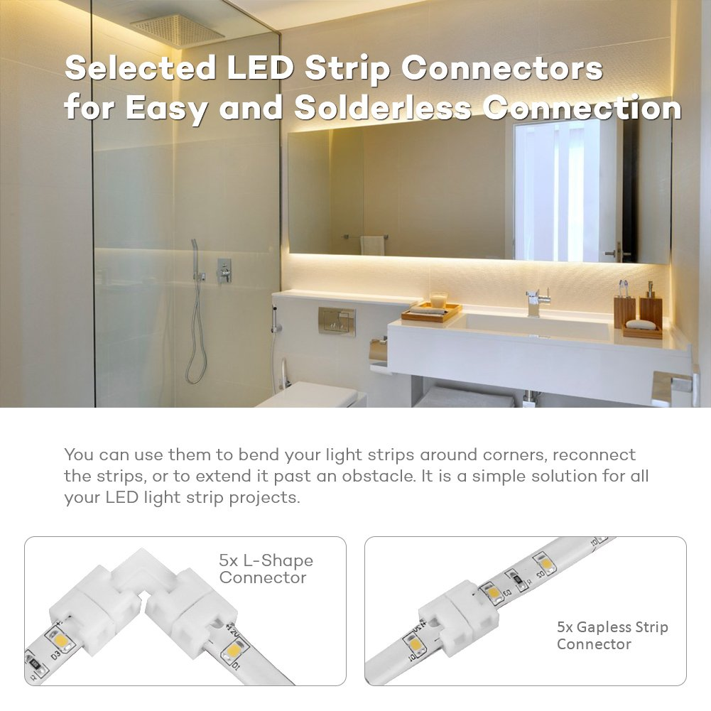 8mm for LED Strip Lights and Tape Lights Medium Project: 55 Pieces IP65 Waterproof Single Color LED Light Strip Connector Kit Megulla SMD 2835//3528