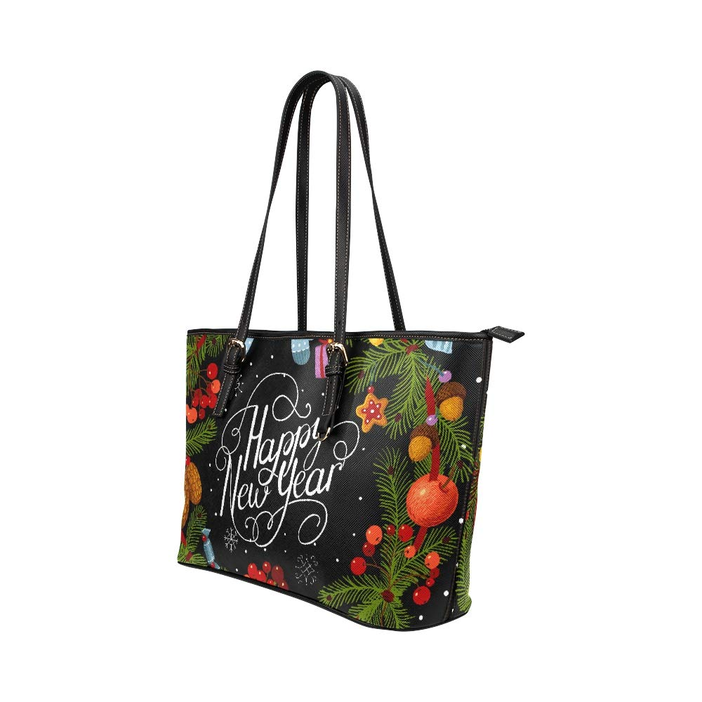 Merry Christmas Happy New Year Green Wreath Large Soft Leather Portable Top Handle Hand Totes Bags Causal Handbags With Zipper Shoulder Shopping Purse Luggage Organizer For Lady Girls Womens Work