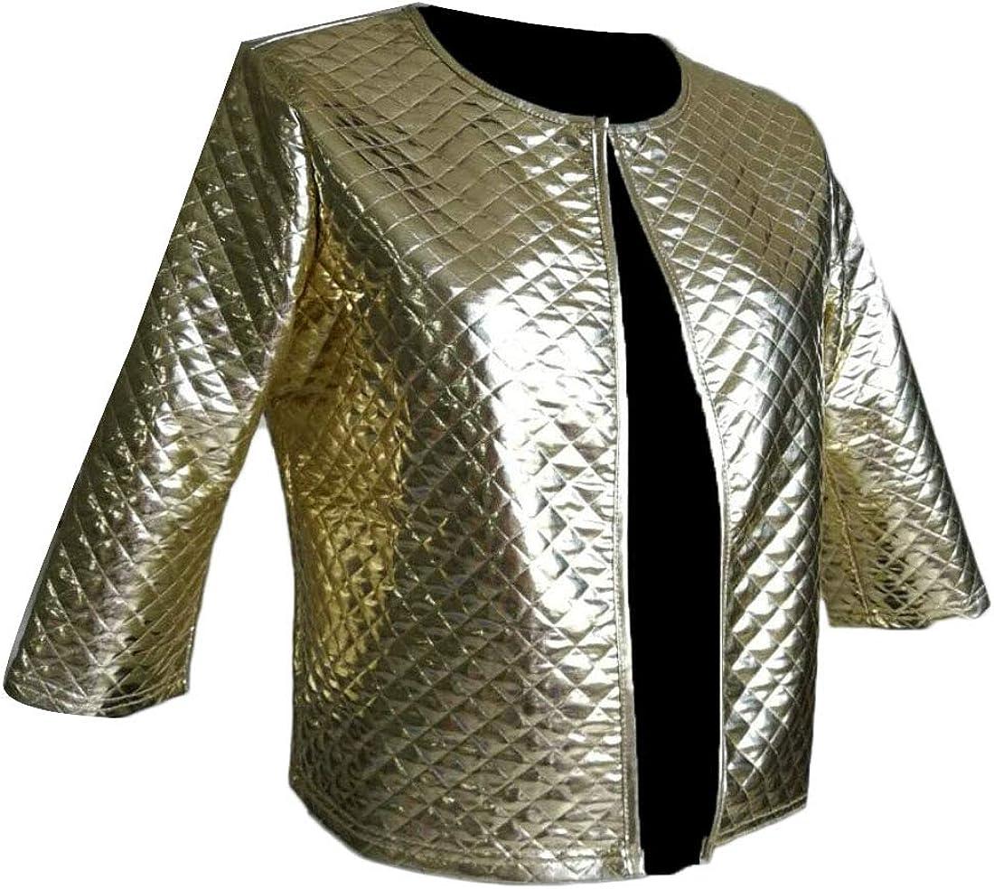Wilngo Womens Slim Fit Open Front Metallic 3//4 Sleeve Short Jacket Coat