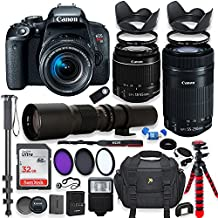 Canon EOS Rebel T7i DSLR Camera with 18-55mm STM Lens Bundle +Canon EF-S 55-250mm f/4-5.6 IS STM Lens and 500mm Preset Lens + 32GB Memory + Filters + Monopod + Spider Tripod + Professional Bundle